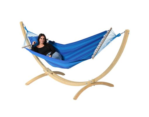 Hängmatta Enkel med Ställning 'Wood & Relax' Blue